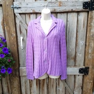 Talbots s Purple Merino Wool Cardigan